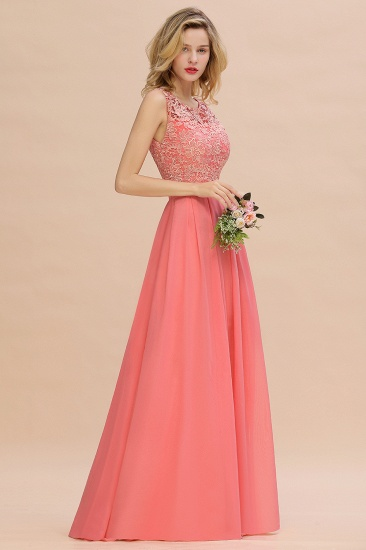 Exquisite Lace Scoop Sleeveless Bridesmaid Dresses Online with Ruffle_5