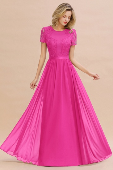 Elegant Chiffon Lace Jewel Short-Sleeves Affordable Bridesmaid Dress_9