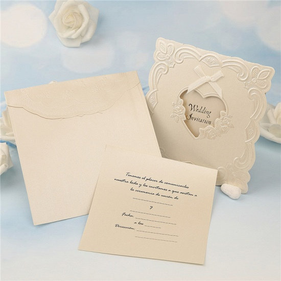 BMbridal Popular Tri-Fold Heart Style Bowknot Invitation Cards (Set of 50)_4