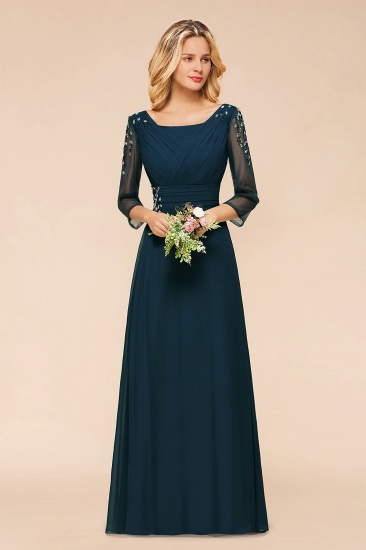 BMbridal Elegant 3/4 Sleeves Ruffle Navy Chiffon Bridesmaid Dresses with Beadings_6