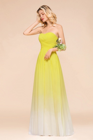 Fashionable Sweetheart Ruffle Yellow Ombre Bridesmaid Dress_8