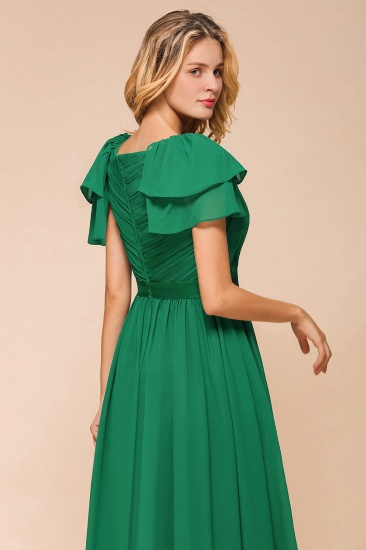 Emerald Short Sleeves Chiffon Ruffles Long Bridesmaid Dresses Online_9