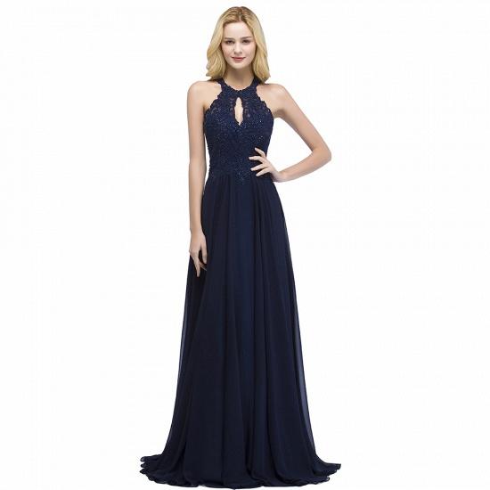 BMbridal A-line Keyhole Neckline Halter Long Beading Prom Dress_3