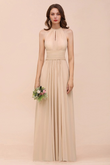 Elegant Chiffon Jewel Ruffle Champagne Affordable Bridesmaid Dress Online_55