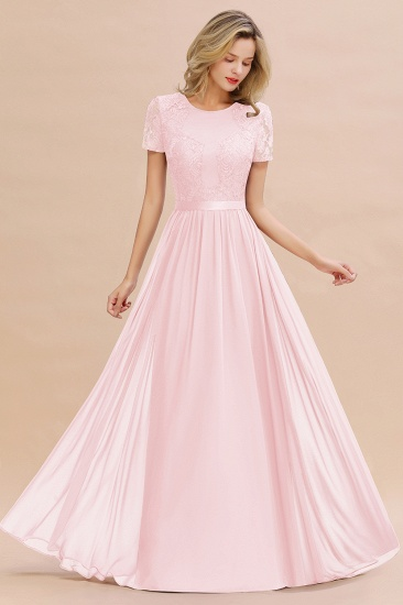 Elegant Chiffon Lace Jewel Short-Sleeves Affordable Bridesmaid Dress_3