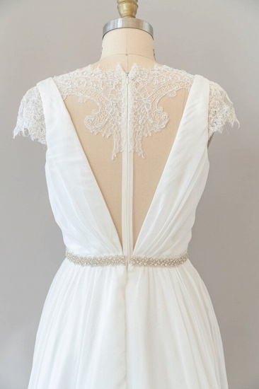 BMbridal Cap Sleeve V-neck Lace Chiffon Sheath Wedding Dress Online_7
