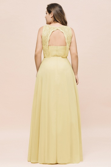 Plus Size Lace Sleeveless Affordable Daffodil Bridesmaid Dress_3
