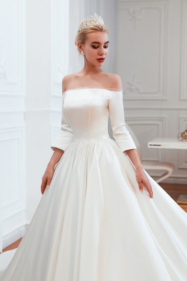 BMbridal Elegant 3/4 Sleeves Princess Satin Wedding Dress Online_11