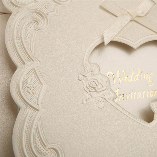 BMbridal Popular Tri-Fold Heart Style Bowknot Invitation Cards (Set of 50)_7