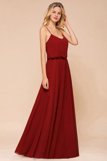 BMbridal Rust Spaghetti-Starps Long Chiffon Bridesmaid Dresses Online_5