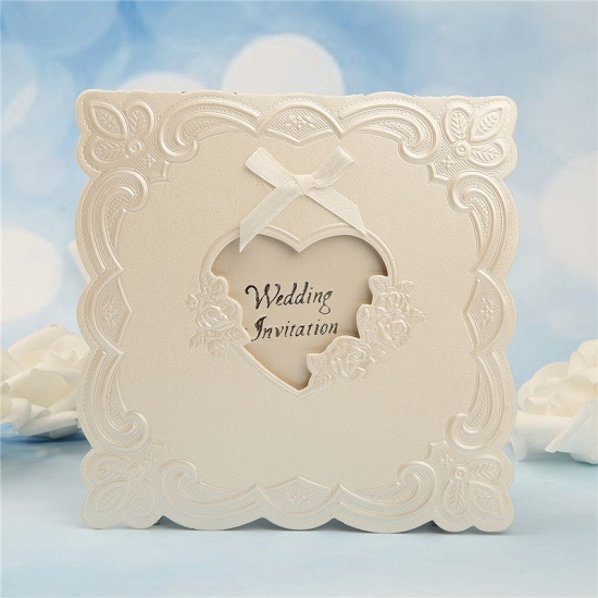 BMbridal Popular Tri-Fold Heart Style Bowknot Invitation Cards (Set of 50)_3