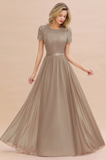 Elegant Chiffon Lace Jewel Short-Sleeves Affordable Bridesmaid Dress_16