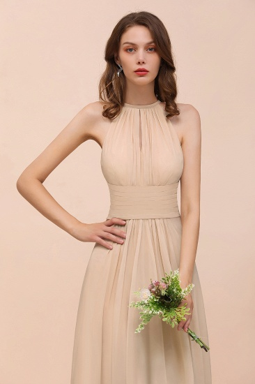 Elegant Chiffon Jewel Ruffle Champagne Affordable Bridesmaid Dress Online_58