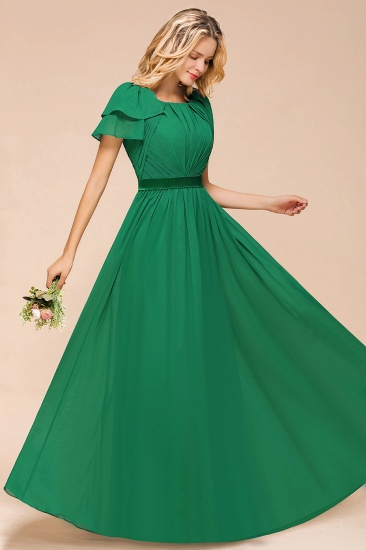 Emerald Short Sleeves Chiffon Ruffles Long Bridesmaid Dresses Online_7