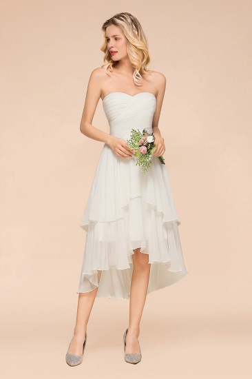 Affordable Hi-Lo Layer Ruffle Ivory Short Bridesmaid Dress with Flower_4