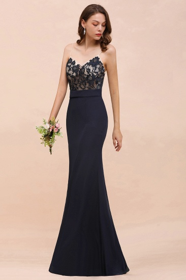 BMbridal Chic Mermaid Chiffon Lace Affordable Bridesmaid Dress with Spaghetti Straps_9