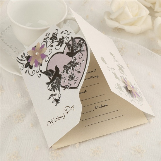 Modern Tri-Fold Heart Style Invitation Cards (Set of 50)_4
