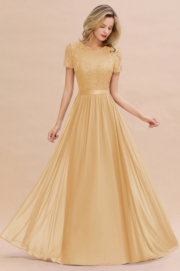 Elegant Chiffon Lace Jewel Short-Sleeves Affordable Bridesmaid Dress_13