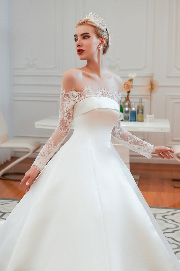 BMbridal Long Sleeve Off-the-Shoulder Satin Wedding Dress With Lace_9