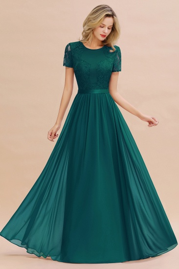 Elegant Chiffon Lace Jewel Short-Sleeves Affordable Bridesmaid Dress_33