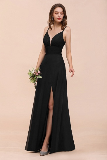 BMbridal Deep V Neck Spaghetti Straps Slit Long Black Bridesmaid Dress_5