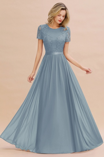Elegant Chiffon Lace Jewel Short-Sleeves Affordable Bridesmaid Dress_40