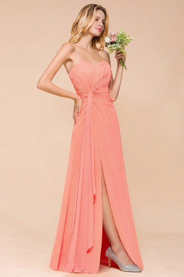 Stylish Sweetheart Ruffle Affordable Coral Chiffon Bridesmaid Dresses Online_4