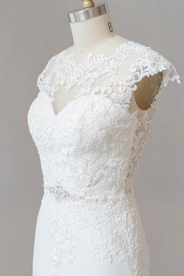 BMbridal Cap Sleeve Illusion Lace Sheath Wedding Dress On Sale_7