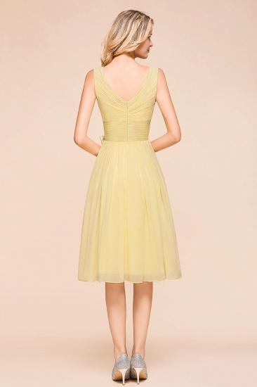 BMbridal Affordable V-Neck Daffodil Chiffon Short Bridesmaid Dress with Ruffle_3