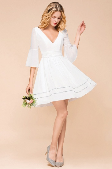 Chic V-Neck 3/4 Sleeves Short White Bridesmaid Dress with Sequins_4