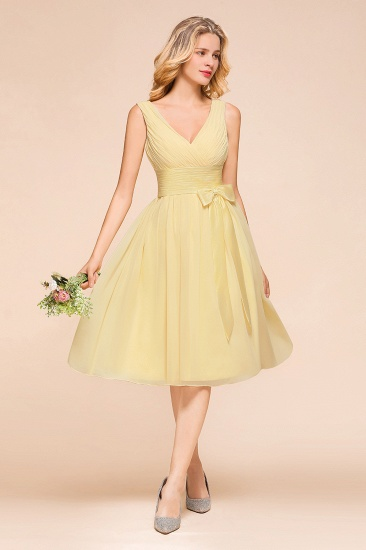 BMbridal Affordable V-Neck Daffodil Chiffon Short Bridesmaid Dress with Ruffle_5