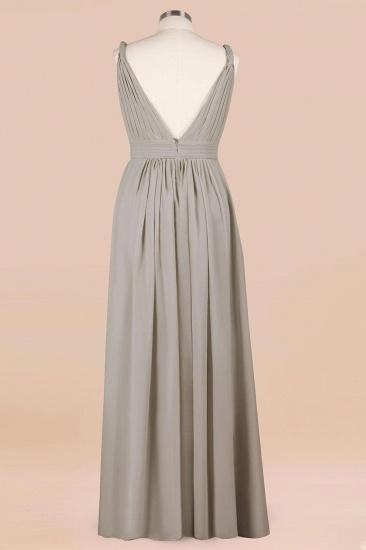 Plus Size Chiffon V-neck Sleeveless Affordable Bridesmaid Dress with Ruffle_11