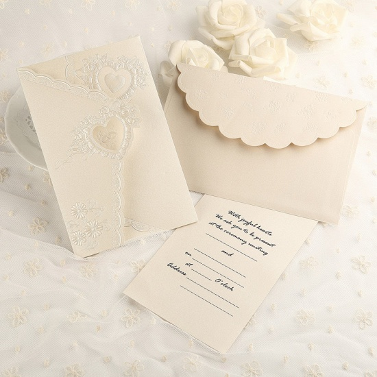 Elegant Tri-Fold Invitation Cards Heart Style (Set of 50)