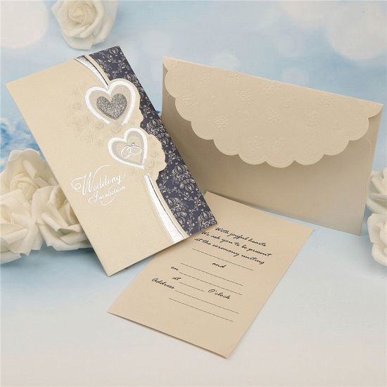 Elegant Tri-Fold Heart Style Invitation Cards (Set of 50)