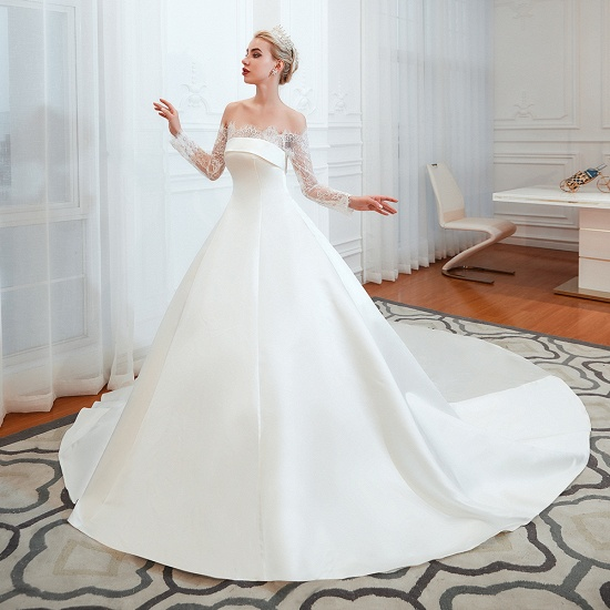 BMbridal Long Sleeve Off-the-Shoulder Satin Wedding Dress With Lace_5
