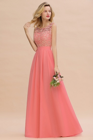 Exquisite Lace Scoop Sleeveless Bridesmaid Dresses Online with Ruffle_7
