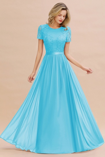 Elegant Chiffon Lace Jewel Short-Sleeves Affordable Bridesmaid Dress_24