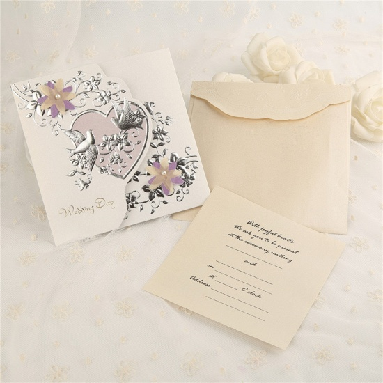 Modern Tri-Fold Heart Style Invitation Cards (Set of 50)_2