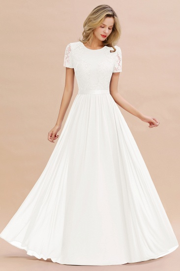Elegant Chiffon Lace Jewel Short-Sleeves Affordable Bridesmaid Dress_2