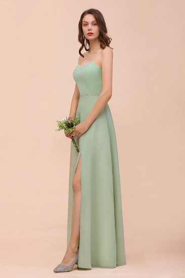 Affordable Strapless Front Slit Long Dusty Sage Bridesmaid Dress_7