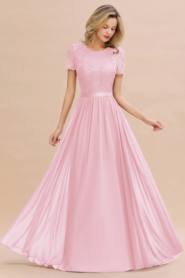 Elegant Chiffon Lace Jewel Short-Sleeves Affordable Bridesmaid Dress_4