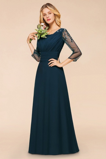 BMbridal Elegant 3/4 Sleeves Ruffle Navy Chiffon Bridesmaid Dresses with Beadings_7