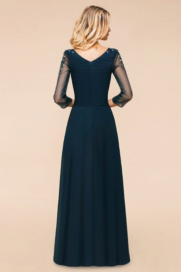 BMbridal Elegant 3/4 Sleeves Ruffle Navy Chiffon Bridesmaid Dresses with Beadings_3