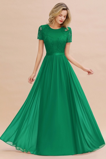 Elegant Chiffon Lace Jewel Short-Sleeves Affordable Bridesmaid Dress_49