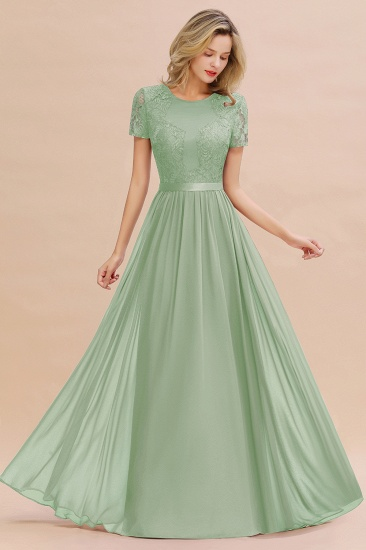 Elegant Chiffon Lace Jewel Short-Sleeves Affordable Bridesmaid Dress_41