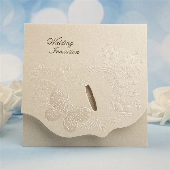 BMbridal Classics Tri-Fold Butterfly Style Invitation Cards (Set of 50)