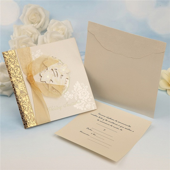 Classic Side-Fold Bowknot Style Hollow Invitation Cards (Set of 50)_7