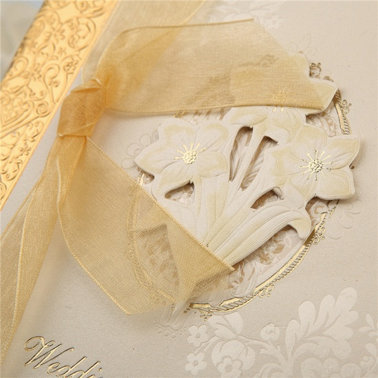 Classic Side-Fold Bowknot Style Hollow Invitation Cards (Set of 50)_5