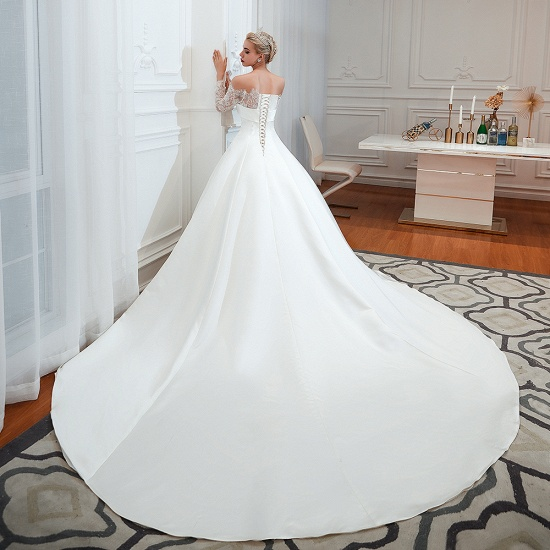BMbridal Long Sleeve Off-the-Shoulder Satin Wedding Dress With Lace_7