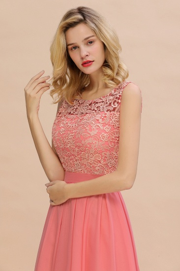 Exquisite Lace Scoop Sleeveless Bridesmaid Dresses Online with Ruffle_8